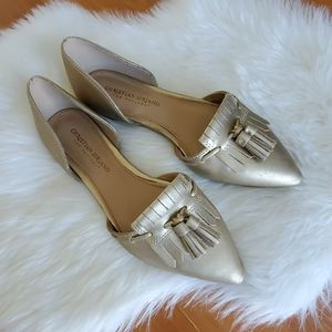 Christian Siriano gold tassel pointed flat shoes 7